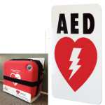AED Wall Sign_L-shape (LSP) & White Metal Adjustable Wall Bracket