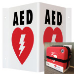 AED Wall Sign_Triangle (TSP) & White Metal Adjustable Wall Bracket