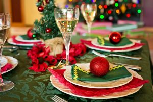 Christmas dinner table with wine