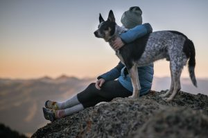 women sitting in mountains with dog